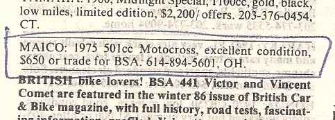 Maico ad Hemmings motor News, 1986