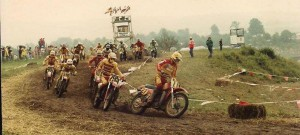 Early 1970s vintage motorcycle race