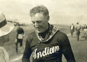 "Ed ""Cannonball"" Baker wearing Indian t-shirt"