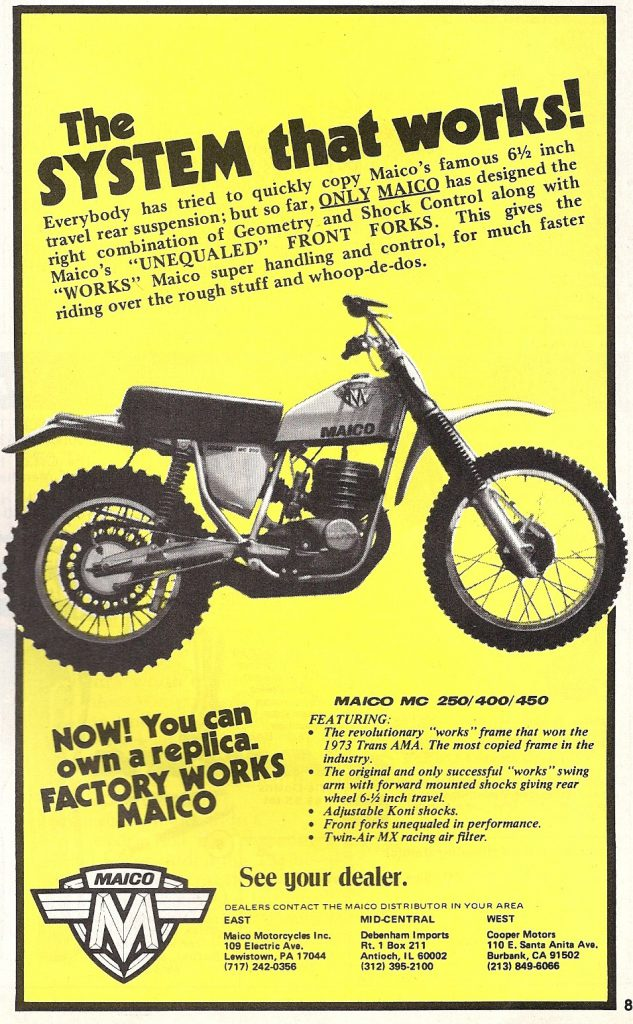 Production Maico of 1974 extolling long travel suspension.
