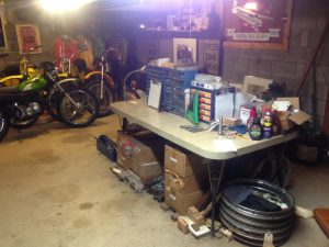 Motorcycle restoration work space.