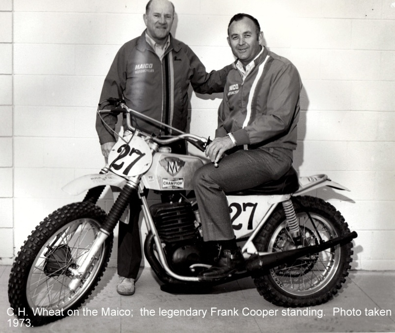 Frank Cooper (standing) and C.H. Wheat, fathers of the 501. The #27 400 Maico is Ake Jonsson's Trans-AMA motorcycle. (Photo: Rick Sieman)