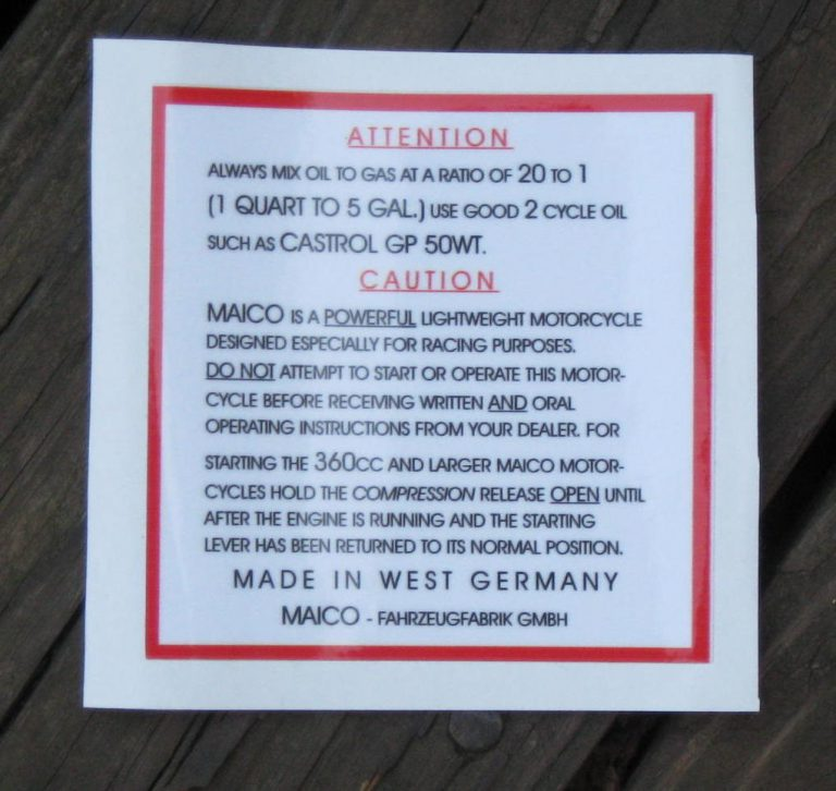 Maico Warning Decal