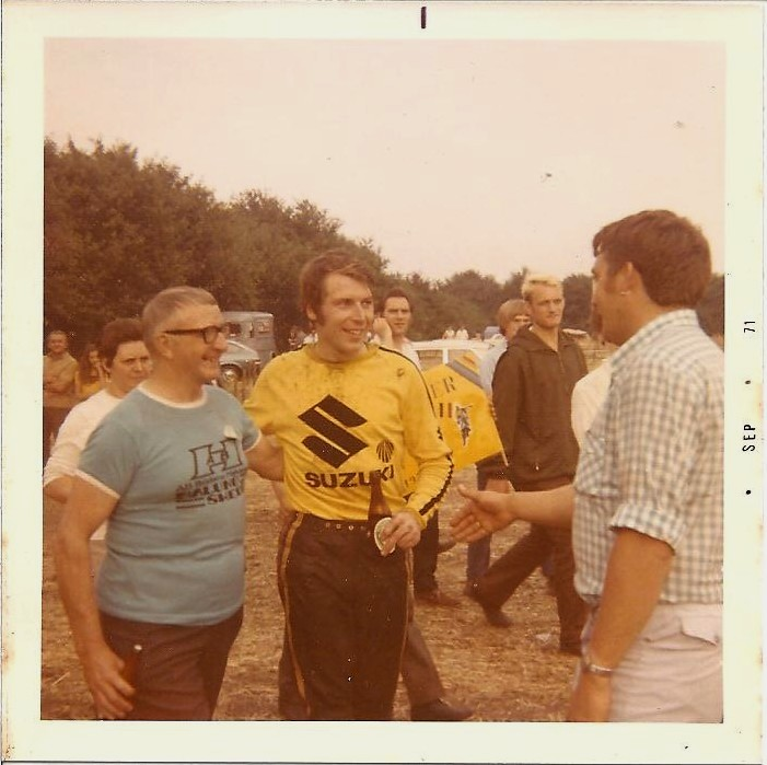 Roger DeCoster with local fans, St Anthonis, Netherlands